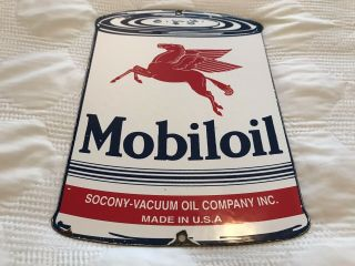 Vintage Mobiloil Porcelain Motor Oil Can Sign,  Gas Station,  Rack Plate,  Pegasus