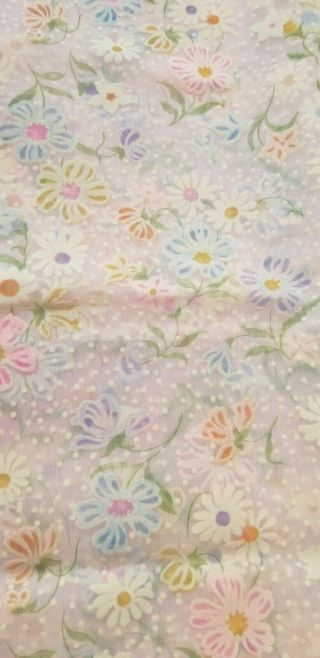 Vintage Flocked Fabric Orchid Sheer Flocked Colorful Floral Fabric Dotted Swiss