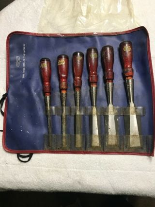 Vintage Stanley No.  750 6pc Socket Chisel Set With Pouch