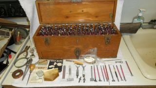 A Rare Wooden Cased With Drawer Craft Tool Leather Tool Set 150,  Piece