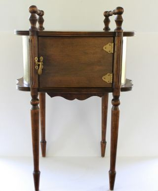 Antique Vintage Smoking Tobacco Stand Cigar Cabinet Table Humidor Metal Wood Box