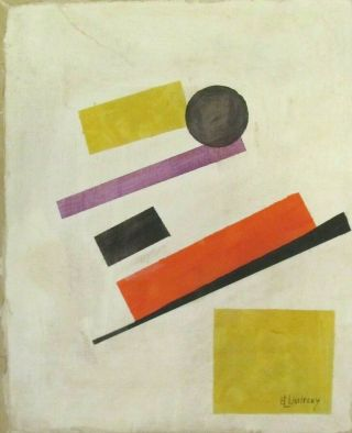 Vintage Abstract Oil On Canvas El Lissitzky Modern Art 20th Century