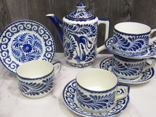 Vintage Anfora Pottery Hecho - En Mexico Blue White Coffee Pot & 4 Cups Saucers