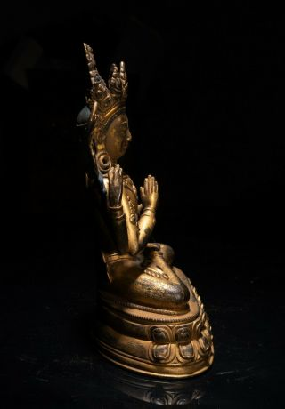 19th C.  Chinese Tibetan Antique Gilt Bronze Buddha 2