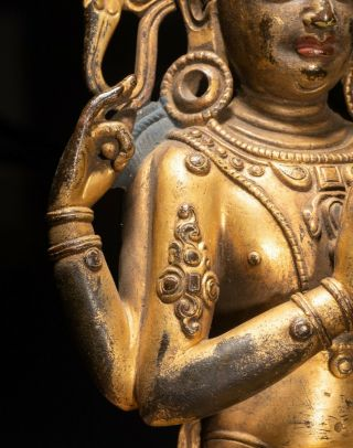19th C.  Chinese Tibetan Antique Gilt Bronze Buddha 8