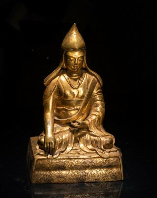 19th Chinese Tibetan Antique Gilt Bronze Buddha