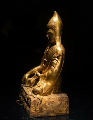 19th Chinese Tibetan Antique Gilt Bronze Buddha 4
