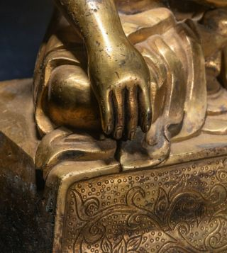 19th Chinese Tibetan Antique Gilt Bronze Buddha 8