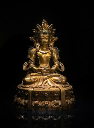 Large 19th Tibetan Antique Gilt Bronze Buddha