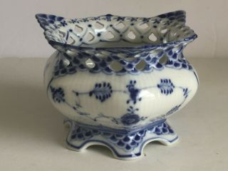 Vintage Royal Copenhagen Blue Fluted Full Lace Sugar Bowl 1 1113 First Quality