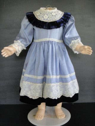 "Blue French Doll Dress - Antique Style Jumeau,  Bru.  24 - 26 "" Doll - Made In France."