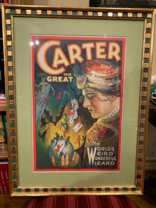 Vintage Stone Litography Window Card Carter The Great,  Framed