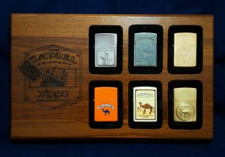 Vintage Camel Zippo Lighter 6 Place Wood Wooden Display Case With Lighters