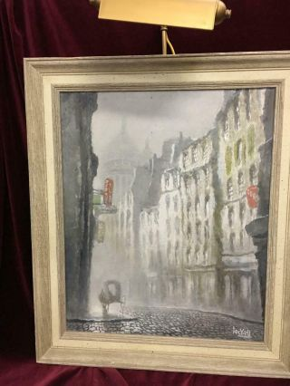 """Vintage Oil On Board Painting By Jac Leckell """" Fog In Paris """" With Art Light"""