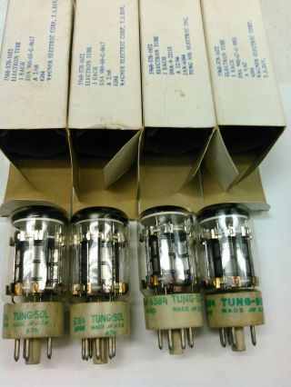 (4) Vintage Bendix Tung Sol 6384 Vacuum Tubes Military Issue 1960