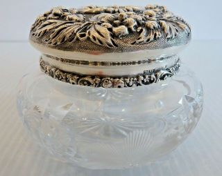 Stieff Deep Floral Repousse Sterling Lidded Hair Receiver W/ Cut Glass Jar