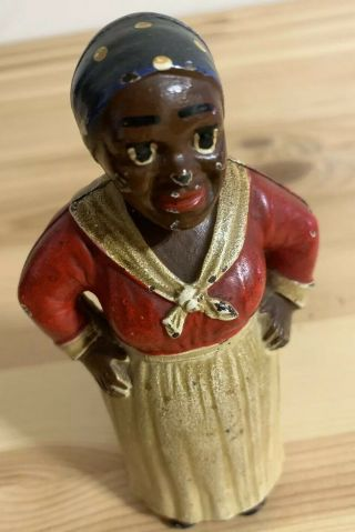 Vintage Antique Black Americana Cast Iron Bank Mammy Aunt Jemima Maid Blue Red