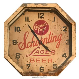 Vintage Large Schoenling Beer Neon Advertising Clock Cincinnati
