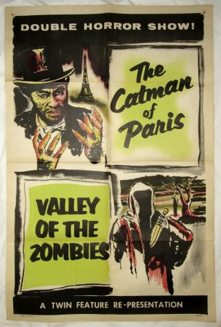 1956 Vintage Horror Poster The Catman Of Paris & Valley Of The Zombies