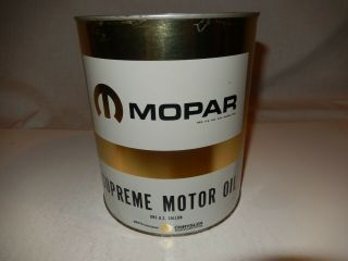"Vintage Mopar "" Supreme "" Motor Oil 1 Gallon Full Metal Can Rare Htf Car Nos Auto"