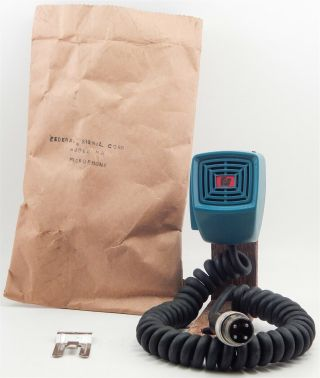 Vntg Nos Rare Federal Signal Corps Blue Fire Fighter Radio Microphone Series B