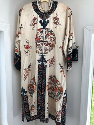 Stunning Vintage Antique Silk Embroidered Kimono/ Robe