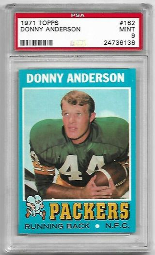 1971 Topps 162 Donny Anderson Psa 9 Packers Ultra Rare,  Pop 6,  None Higher