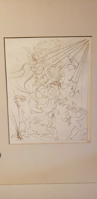 Vintage Salvador Dali Etching Autumn Signed In Reverse