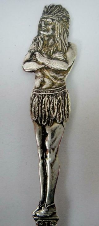 Antique Sterling Silver Souvenir Spoon Full Figural Indian Handle,  Duluth Minn.