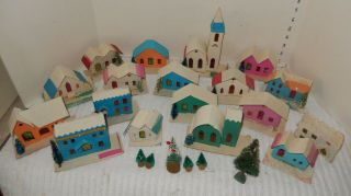 18 Vintage 1959 Christmas Putz Japan Cardboard Houses Churches Mica Glitter