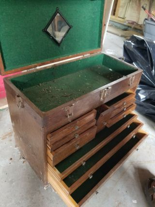 H.  Gerstner Vintage 11 Drawer Dark Oak Machinist Chest Tool Box W/ Mirror