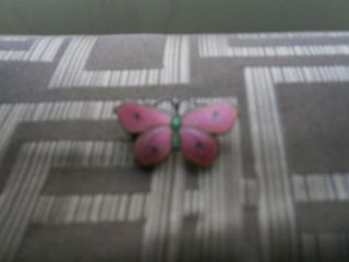 Vintage Silver And Enamel Butterfly Brooch By Ja&s