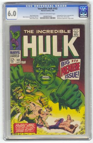 Incredible Hulk 102 Cgc 6.  0 Vintage Marvel Comic Key 1st Issue Origin Retold