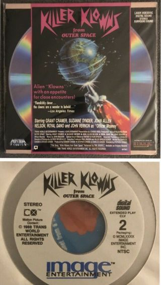 Vintage Rare Hard To Find 1988 Killer Klowns From Outer Space Laserdisc Image