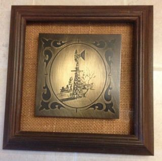 Windmill Etched In Metal By C M (mike) Henderson,  Texas,  Signed,  Vintage,  Decor