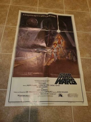Vintage 1977 Star Wars One Sheet Style A Movie Poster 77/121