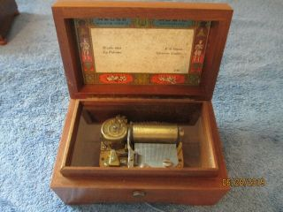Vintage Reuge Music Sainte Croix 2 Song Wooden Music Box