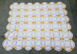 "Vtg Handmade Double Wedding Ring Quilt Scalloped Novelty Print 88 "" X 72 """