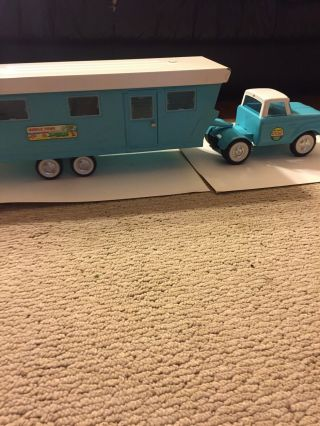 Vintage 1960's Nylint 6601 Mobile Home And Furniture (6600) On Truck