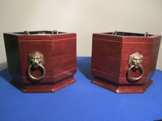Vintage Planter Bookends With Metal Liners Lions Head