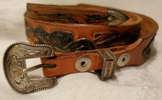 Vtg Vogt Mexico Sterling Silver 3pc Belt Buckle Set