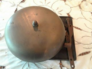 "Vintage Brass Mechanical Spring Loaded Pull 8 "" Boxing Ring Bell / Fire Alarm"
