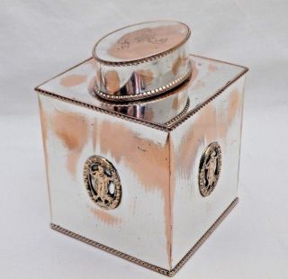 Antique Sheffield Silver Plate On Copper Square Tea Caddy Canister