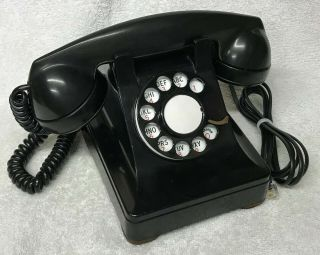 Vintage 1940s Western Electric Black 302 12 - 48 Rotary Dial Desktop Telephone