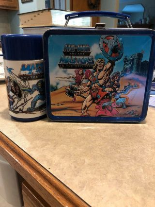 Vintage 1984 He - Man And The Masters Of The Universe Metal Lunch Box With Thermos
