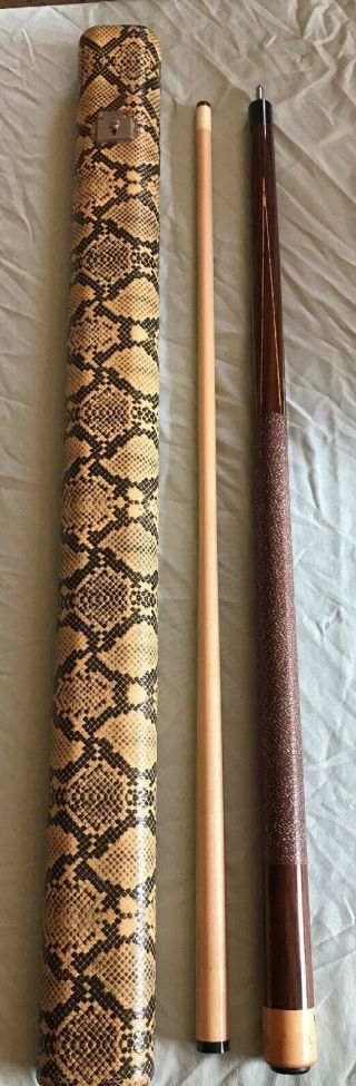 Rare Nos Viking G17 Pool Cue - 4 Points And Snakeskin Case Wood