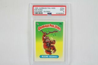 Vintage 1985 Series 1 Glossy Garbage Pail Kids Card Psa Graded 9 Kim Kong 34a