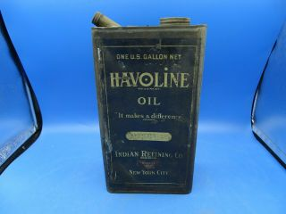 Vintage Early Havoline 1 Gal.  Tin Motor Oil Can Indian Refining Co.