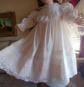 Large Antique Lace,  Pintucks Doll Dress For French Jumeau Bru Or German Doll