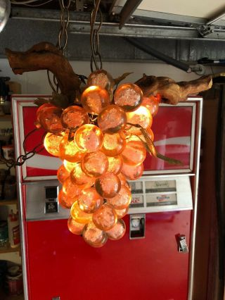Vintage Grape Cluster Hanging Lamp Large Lucite Acrylic Light